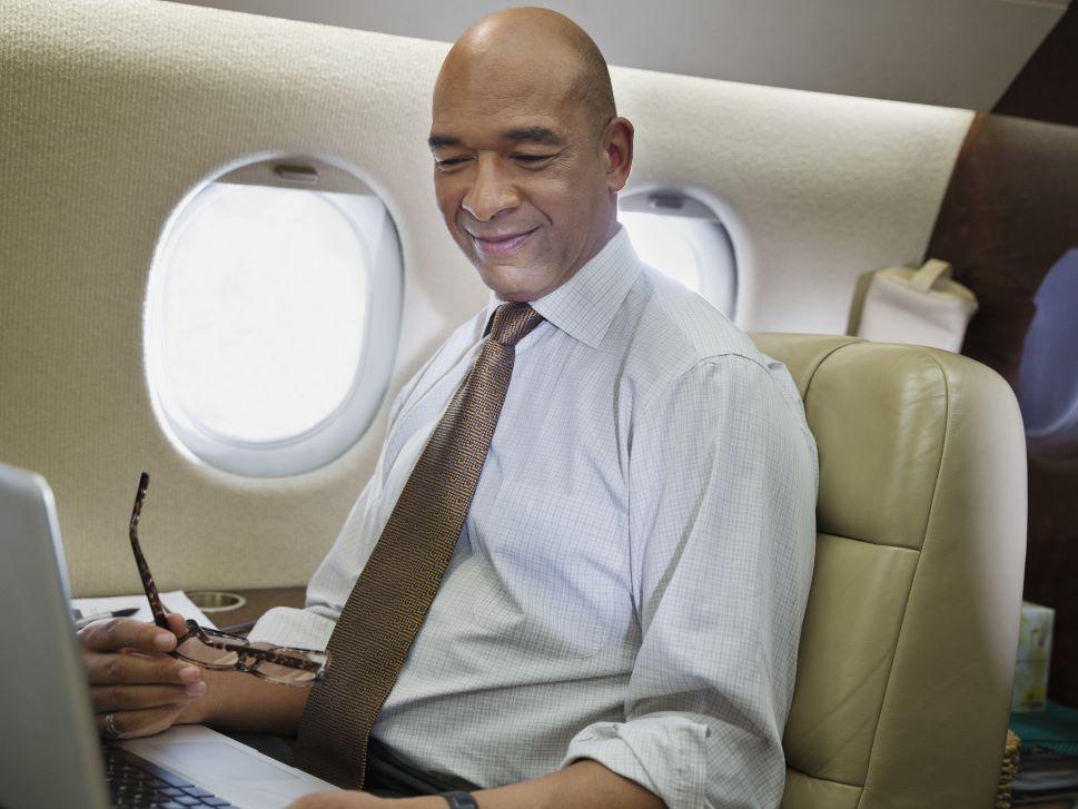 Private Jet Passenger Enjoys Cabin Connectivity