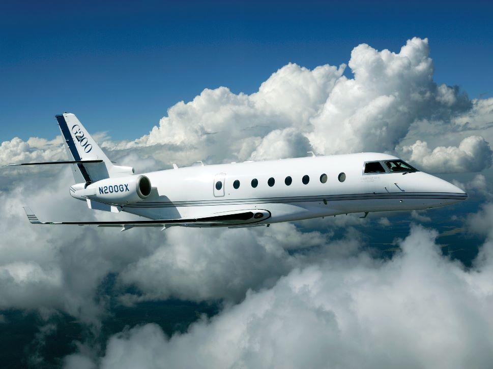 Gulfstream G200 Private Jet in Flight