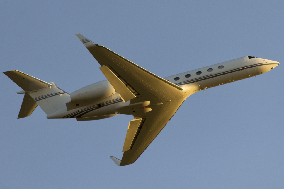 Gulfstream Private Jet Takes Off from Airport