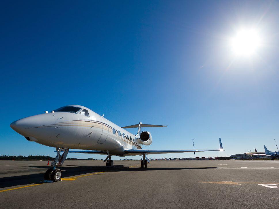 Gulfstream Private Jet on Airport Ramp