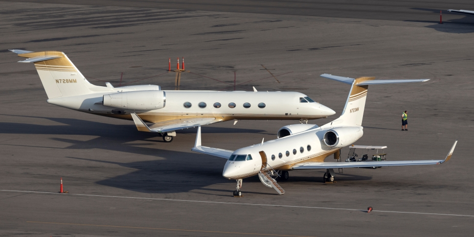 Gulfstream Private Jets parked on airport ramp