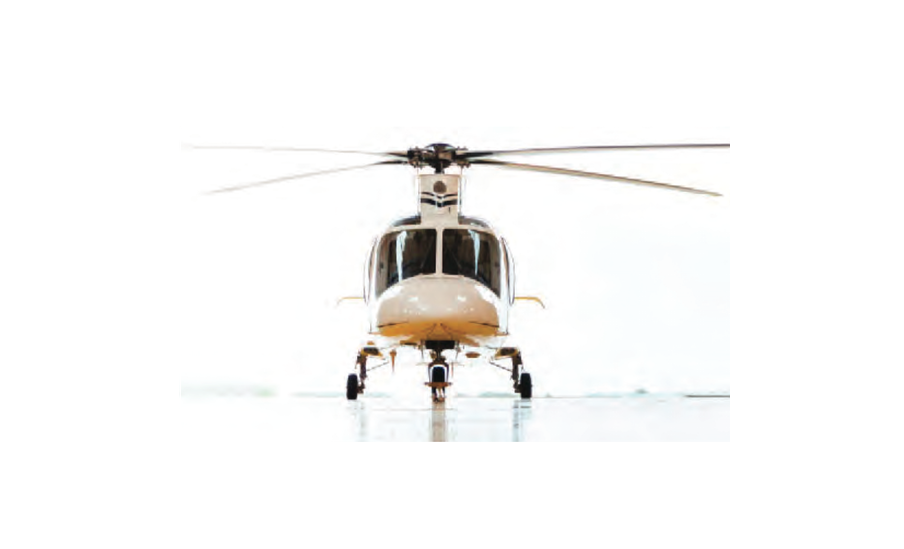 White Helicopter front view