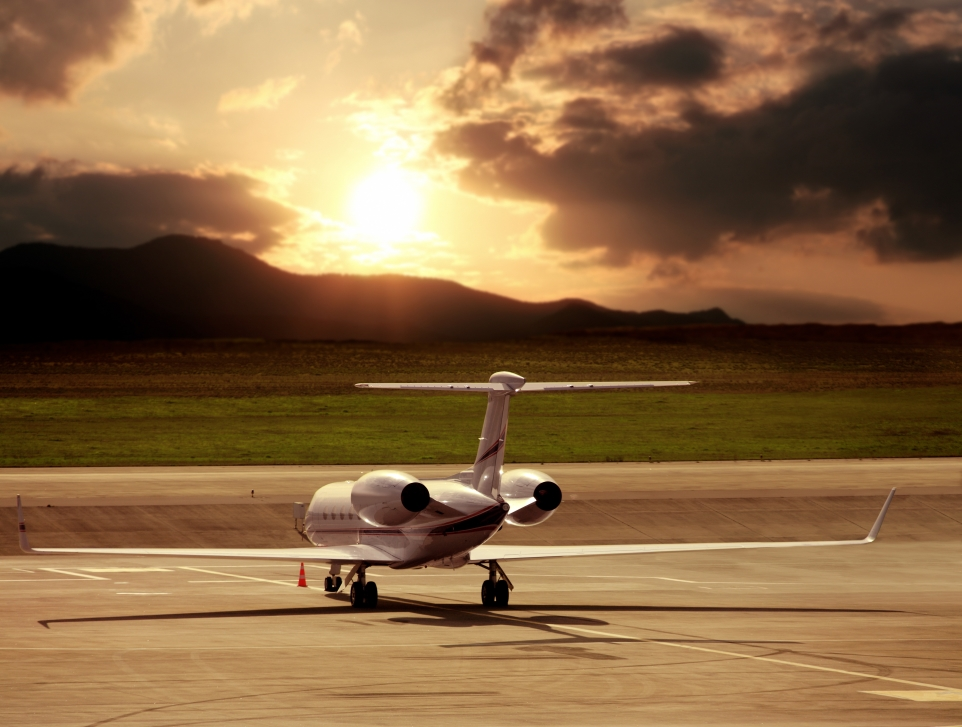 Long Private Jet Sits on Airport Ramp