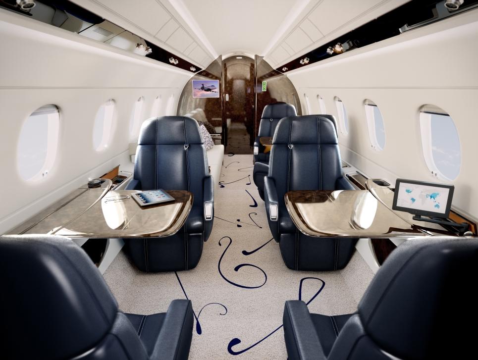 Mid-Size Private Jet Cabin