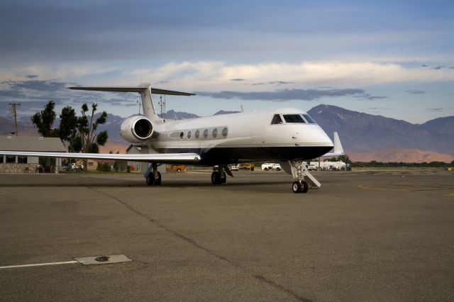 Private Jet Parket on Airport Ramp
