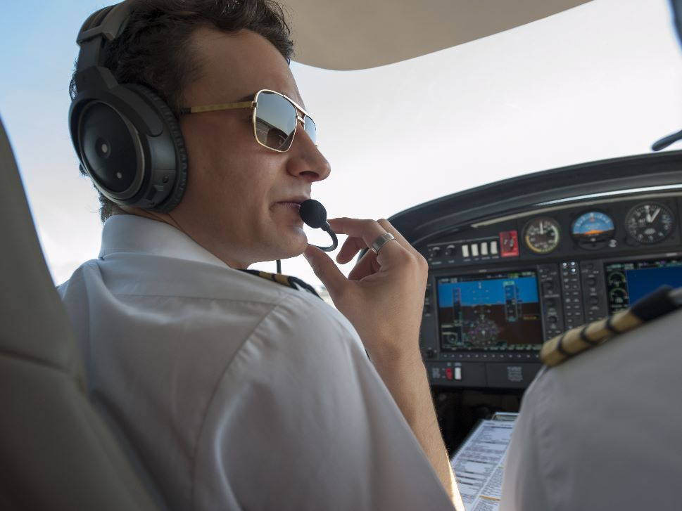 Pilots in Private Aircraft Cockpit