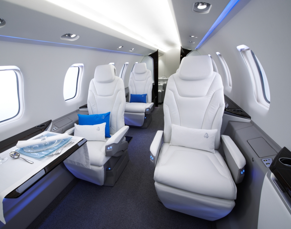Private Jet Cabin with LED Lighting Installed