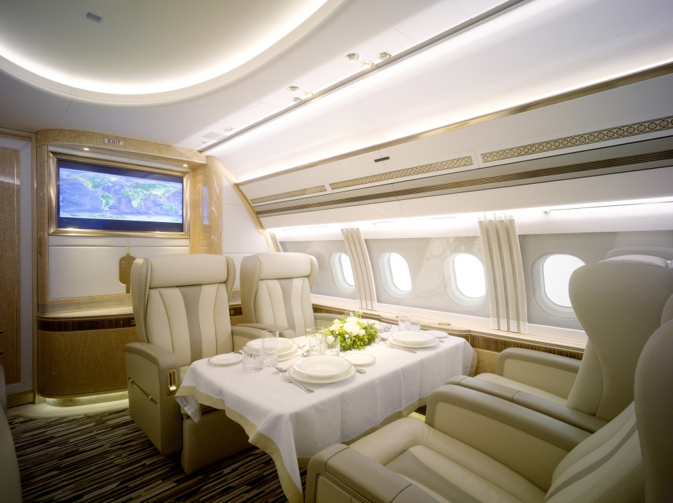 Private Jet Dining Room Designed by AMAC Aerospace