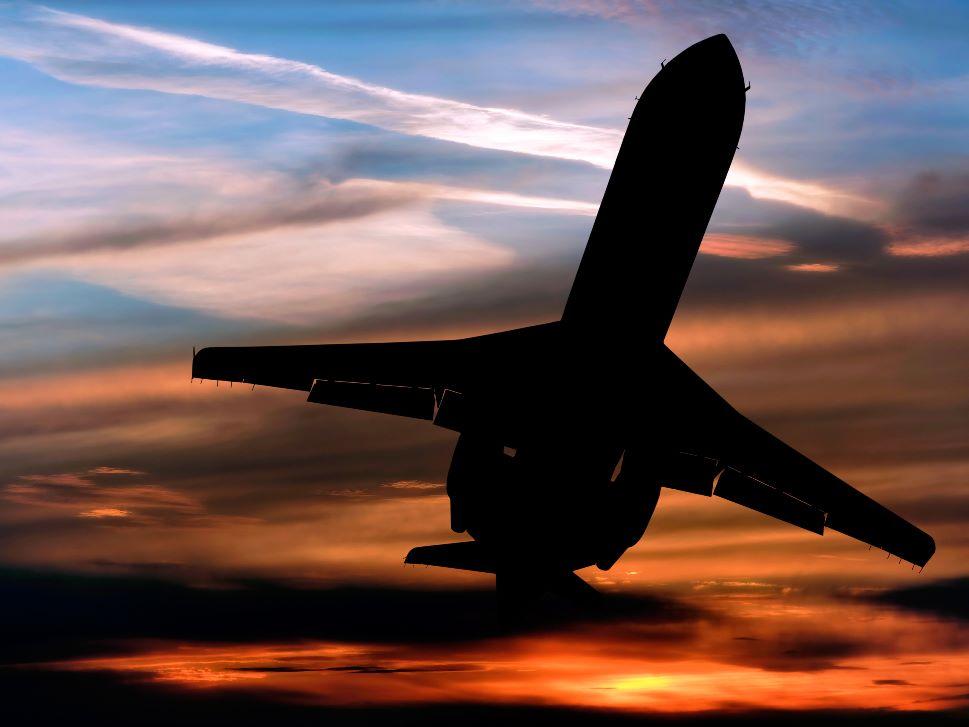 Private jet flies overhead
