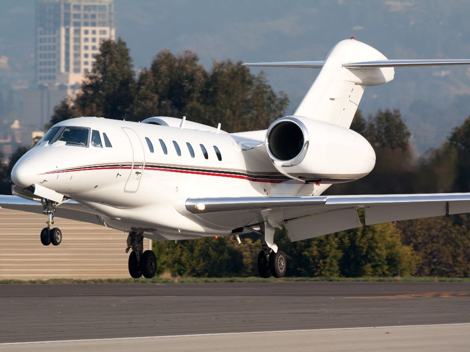 Private Jet comes in to land at a regional airport