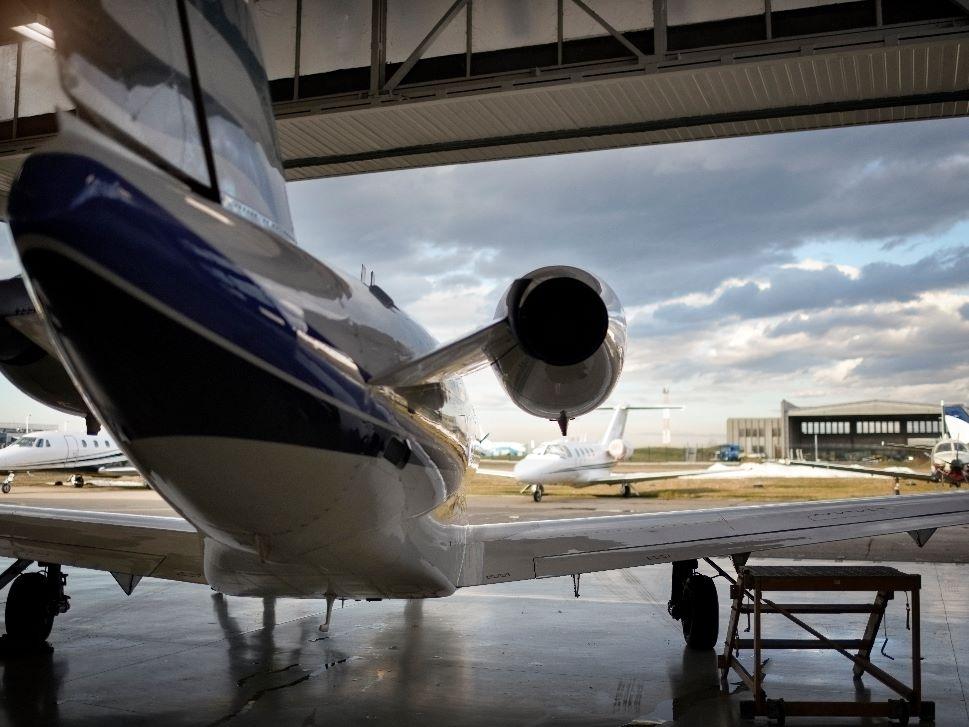 Private Jet Maintenance Open Hangar