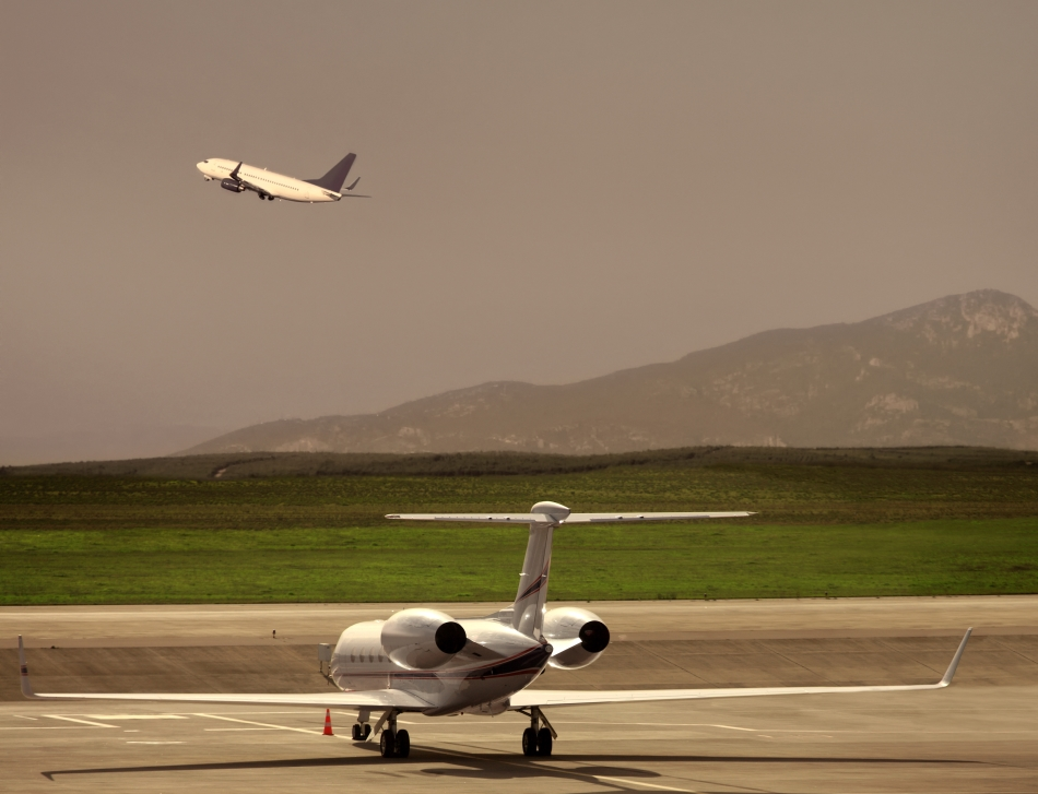 Private Jet Waits to Take-Off