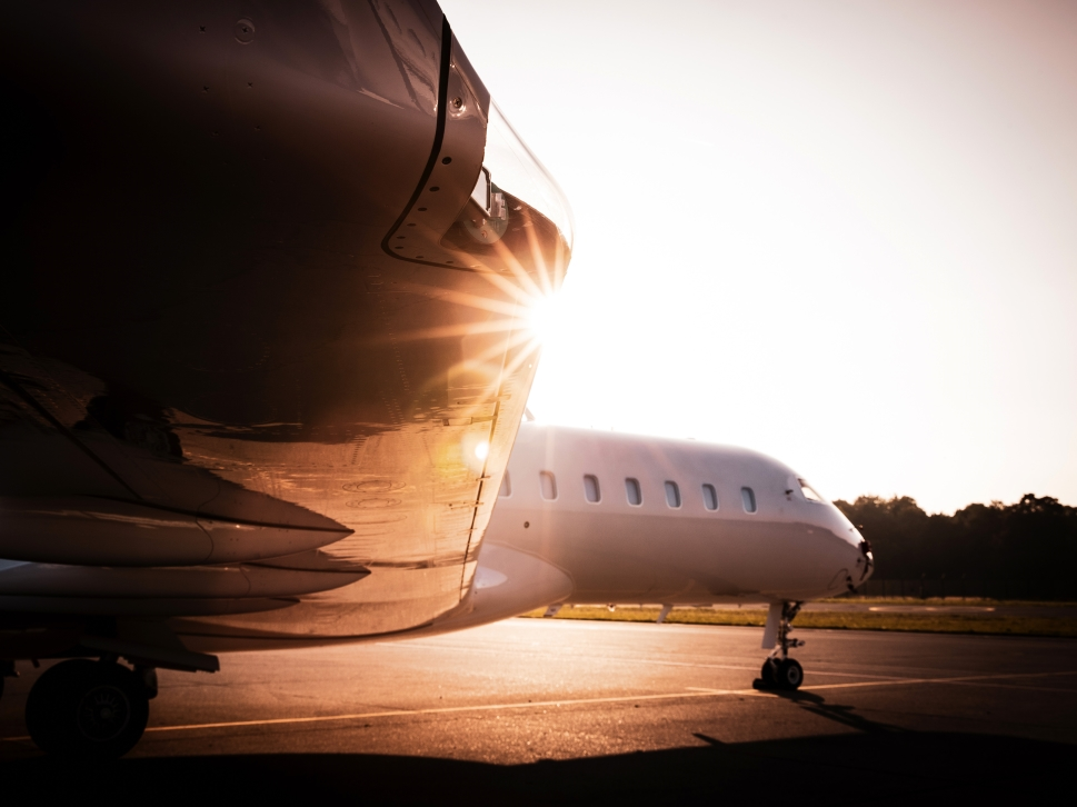 Private Jet on Airport Ramp