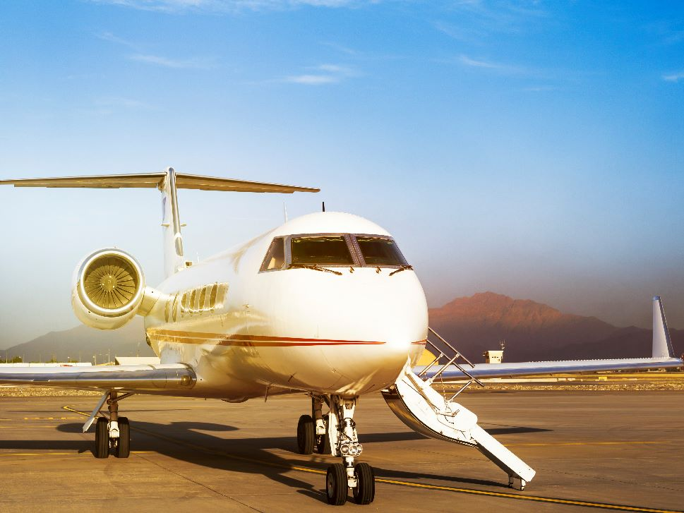 Private jet awaits passengers at airport