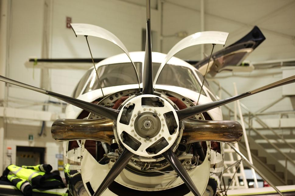 Turboprop aircraft undergoes engine maintenance
