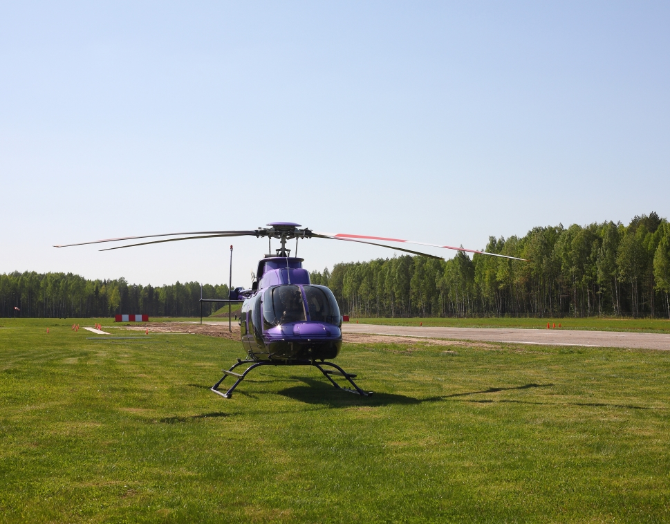 VIP Helicopter Parked on Grass