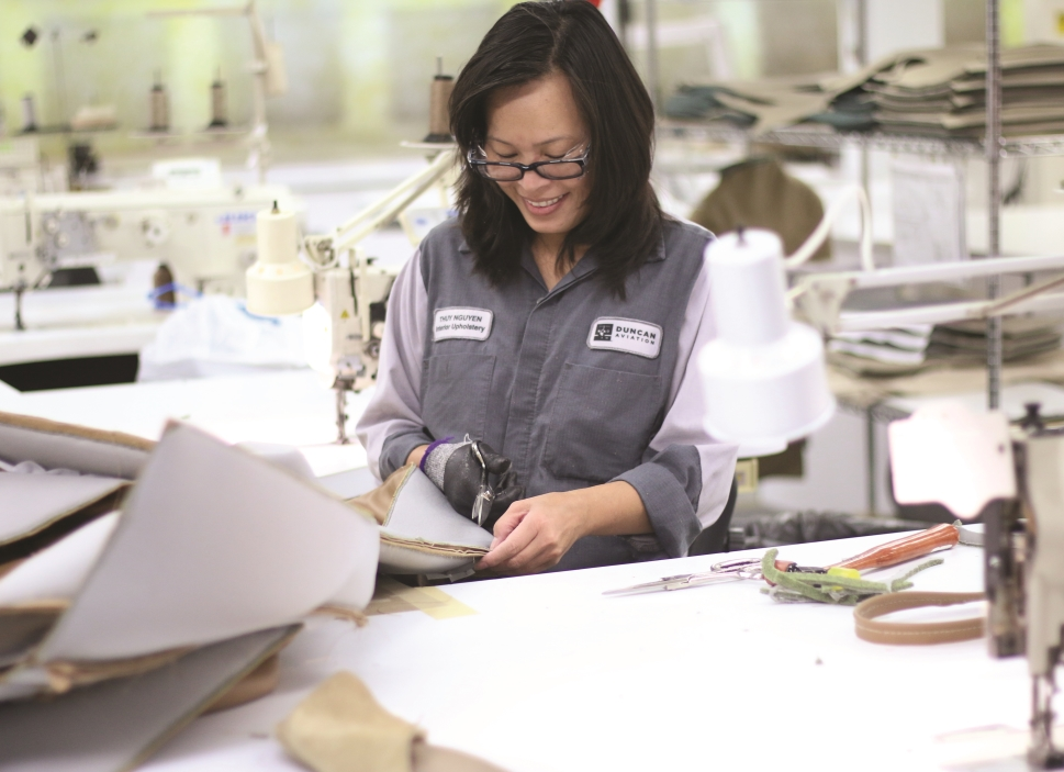 Thuy Nguyen, Duncan Aviation's refurbishment specialist at work