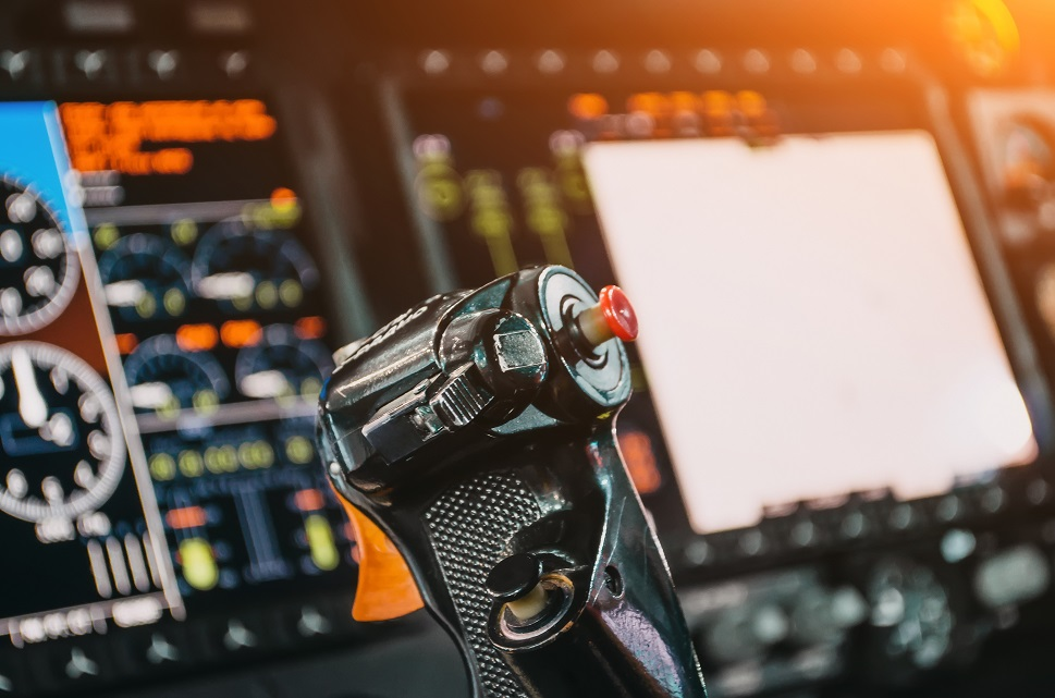 A business aircraft avionics panel in action