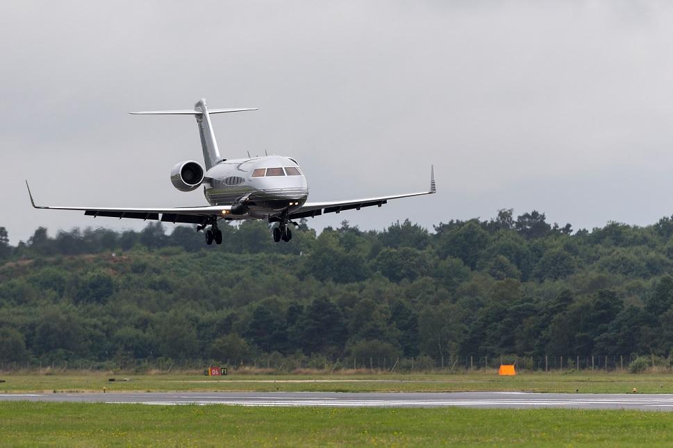 A Bombardier Challenger 650 landing at Farnborough, UK