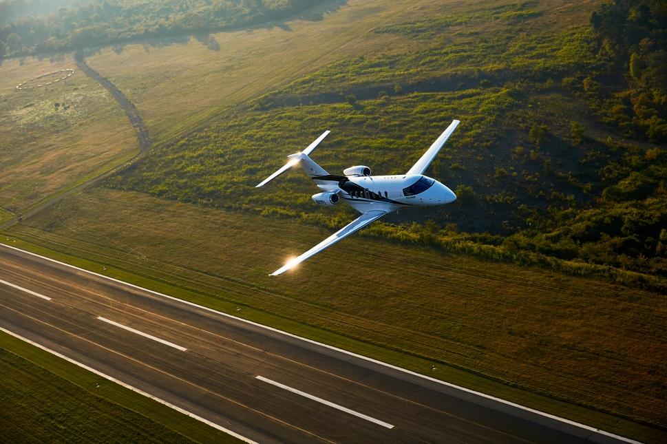 Pilatus PC-24 Super Versatile Jet takes-off into the skies
