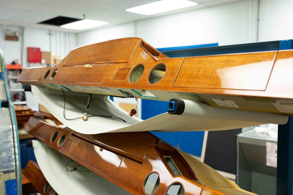 Private jet cabin side ledges undergoing restoration at Standard Aero