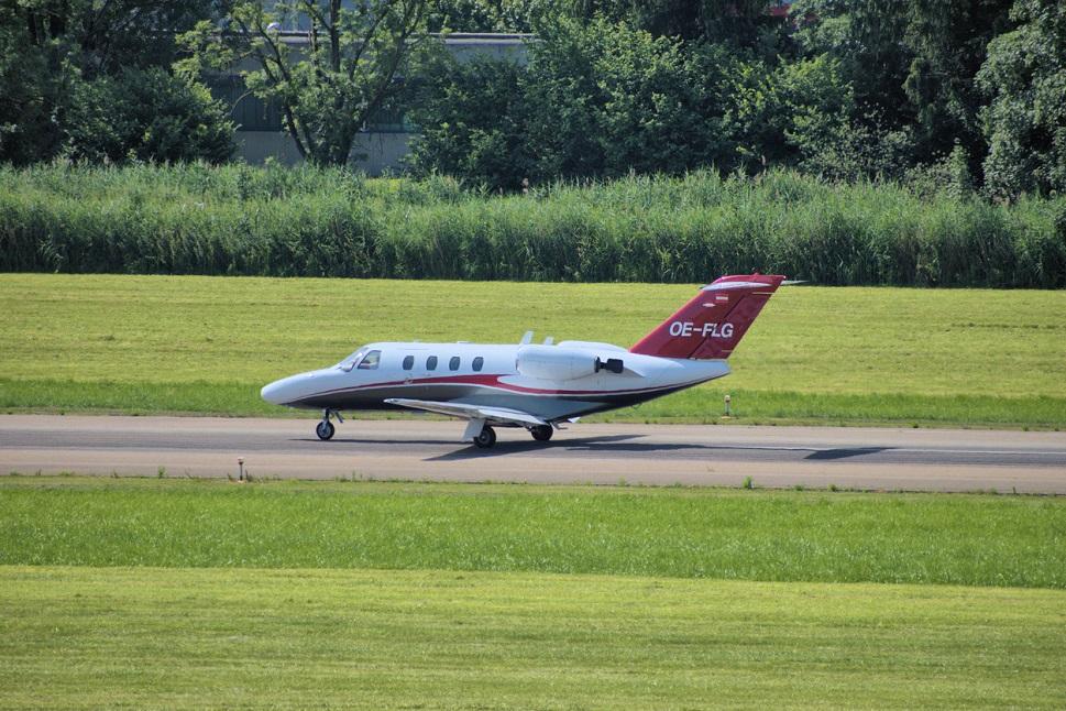Cessna Citation CJ1 light jet on airport taxiway