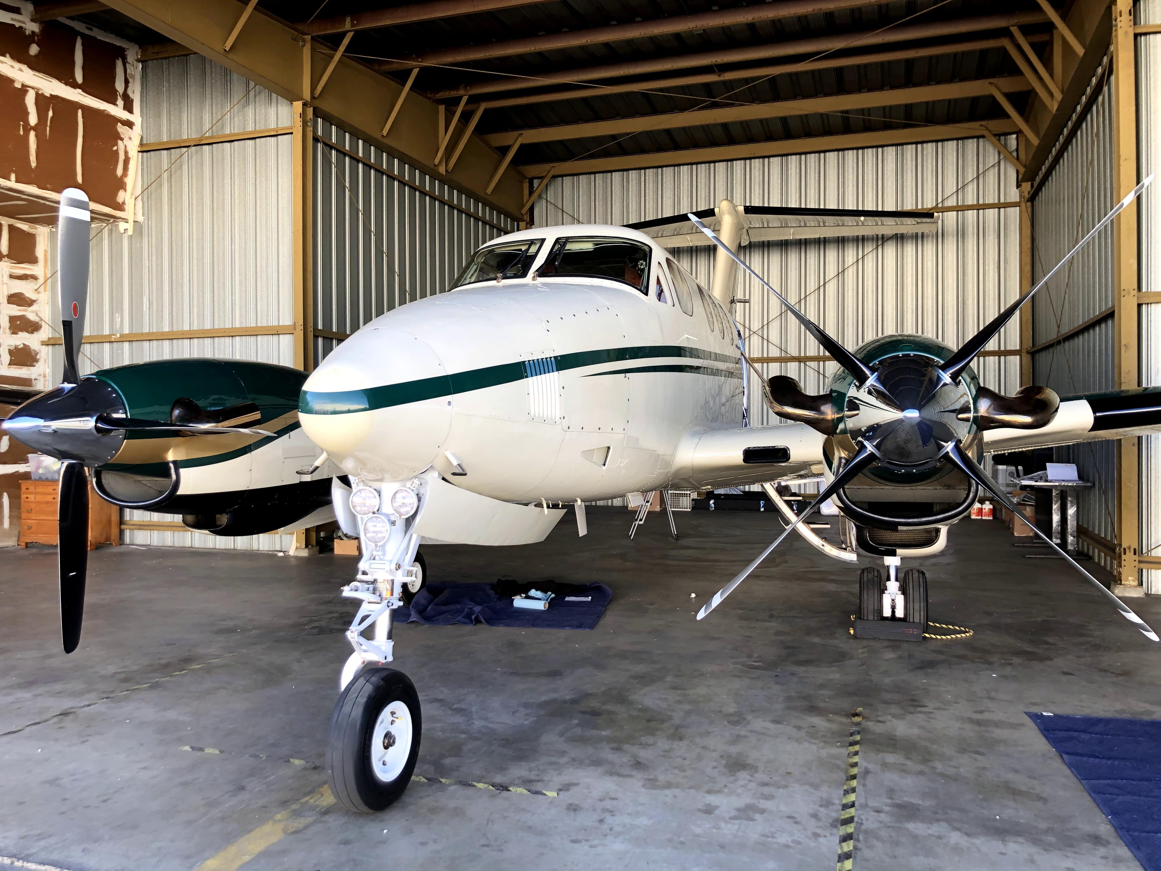King Air F90 in Hangar