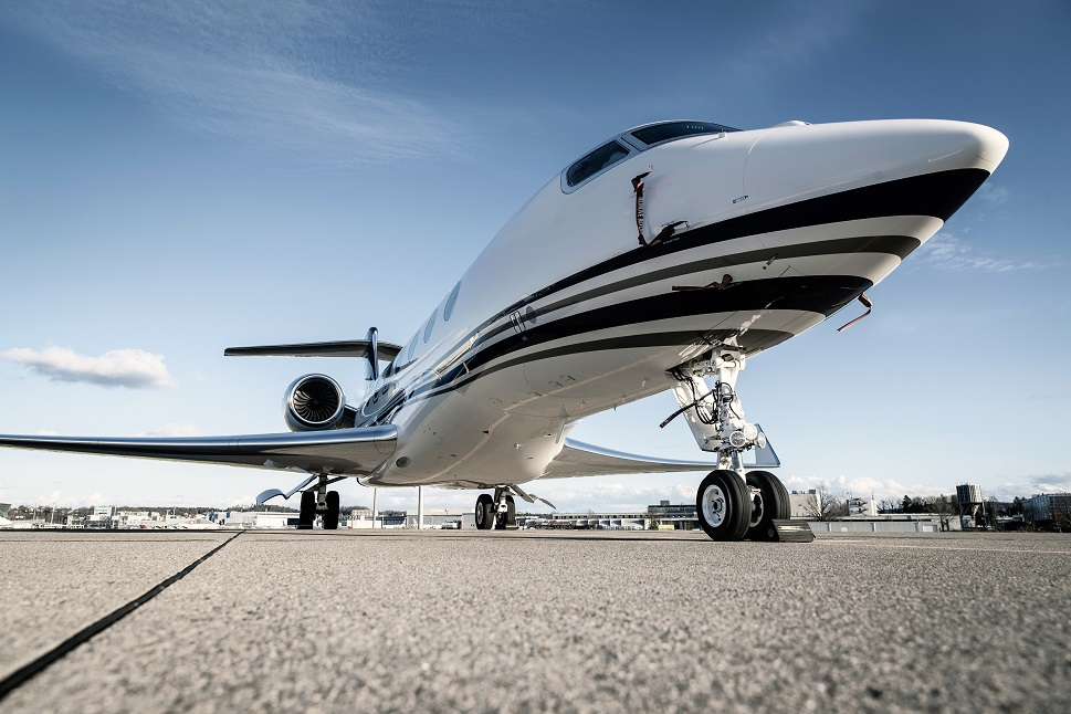 Low front angle shot of a Gulfstream private jet