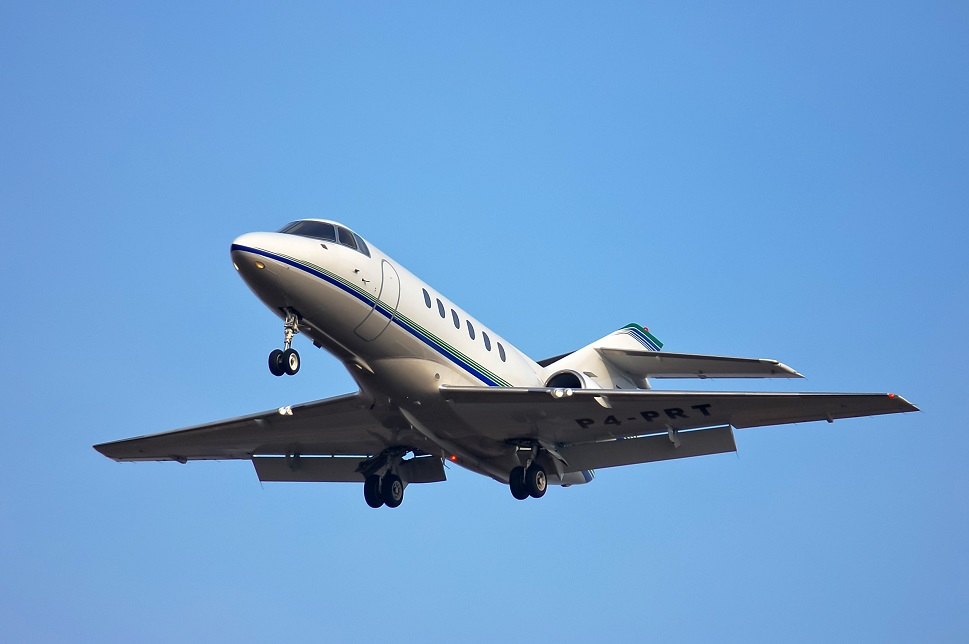 Hawker 800XP mid-size jet takes off
