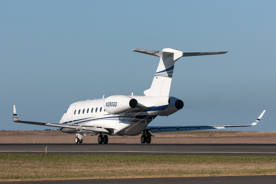 Gulfstream private jet taxis towards the runway