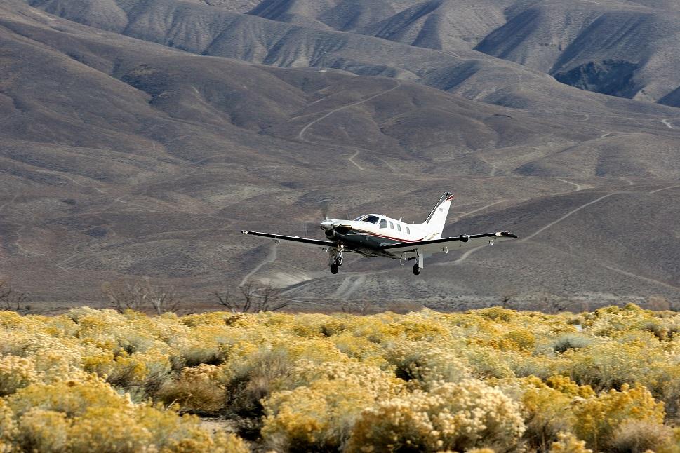 Socata TBM 700A landing at a remote airport