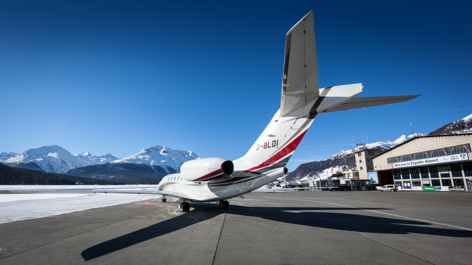 Cessna Citation Private Jet waits for passengers on airport ramp