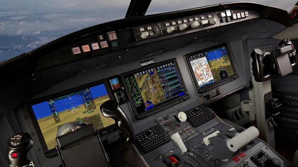 Collins Aerospace flight deck retrofitted in a private jet