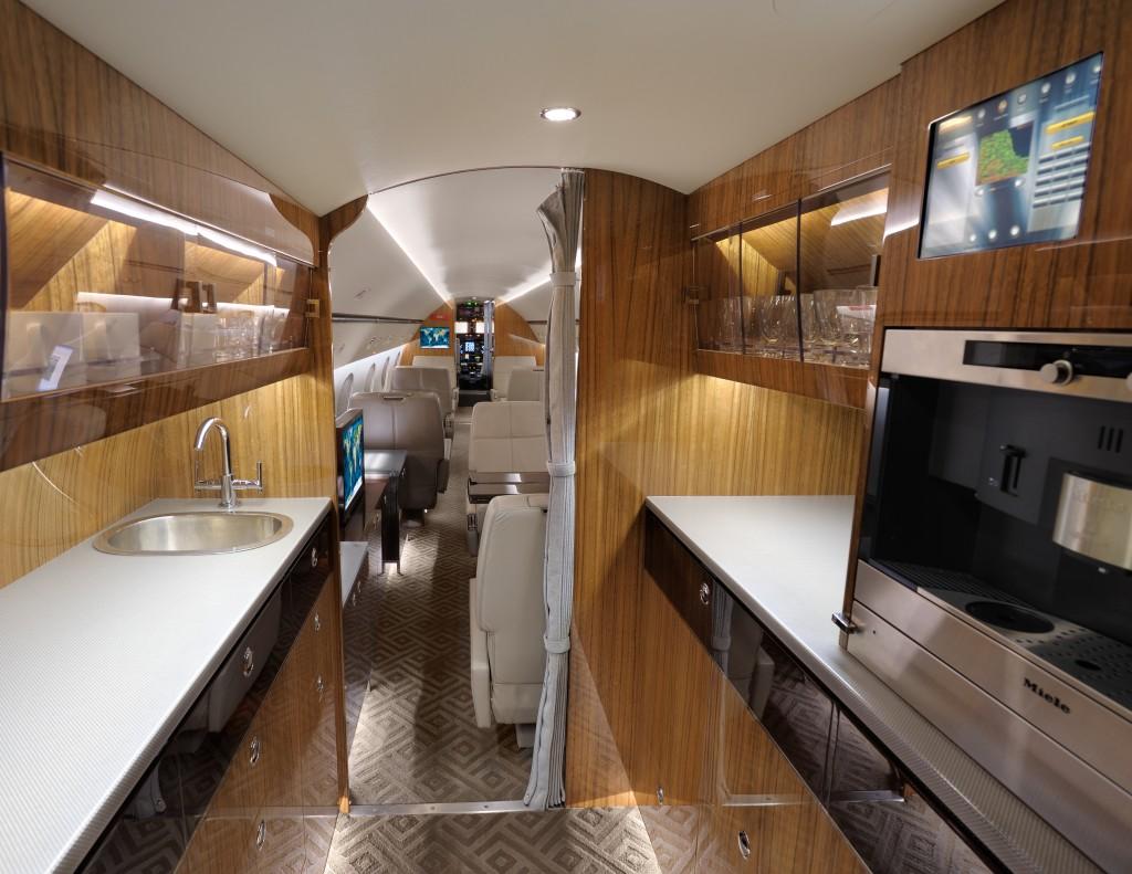 Newly refurbished Gulfstream GIV galley area