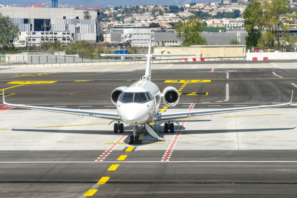Private jet waits at the airport for its passengers