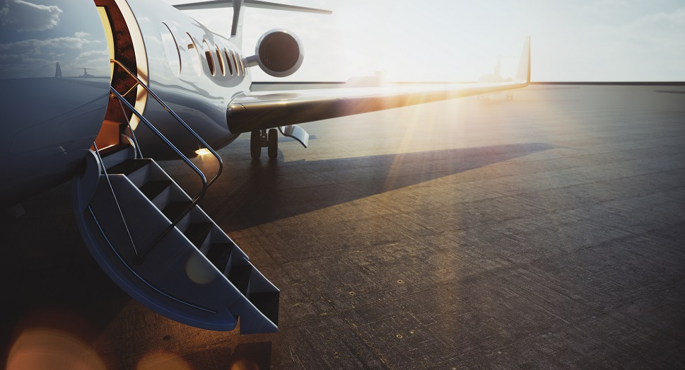 A private Gulfstream jet waiting for passengers to arrive