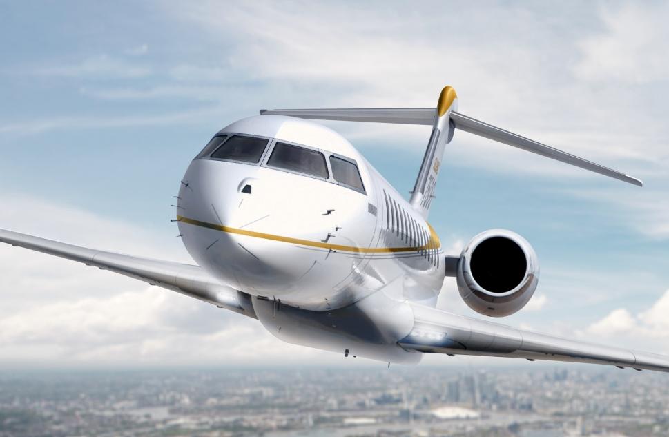 Bombardier Global 7500 ultra-long-range business jet in flight