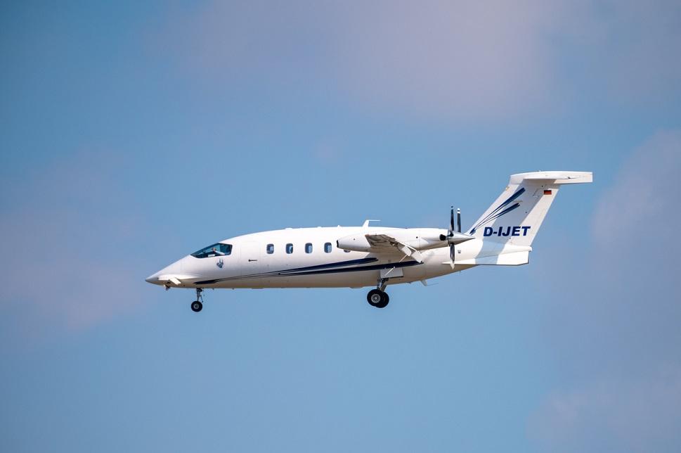 Piaggio P180 Avanti turboprop aircraft in-flight